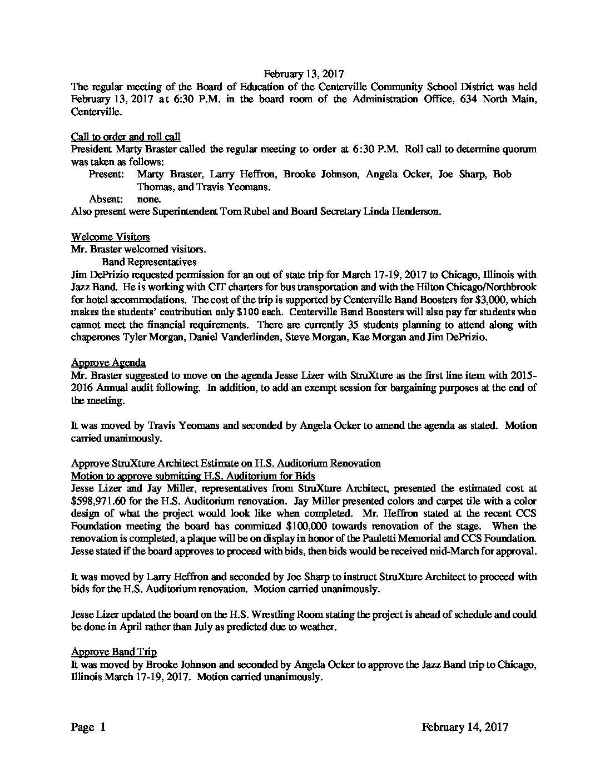 February 13, 2017 Centerville CSD Board Minutes - Centerville