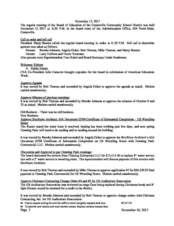 November 13, 2017 Centerville CSD Board Minutes - Centerville